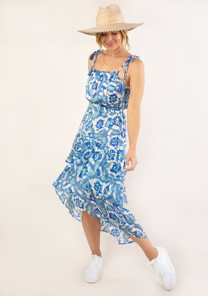 [Color: Blue Turquoise] Ultra pretty geo floral print tank top midi dress. Featuring an elastic waist detail for definition.