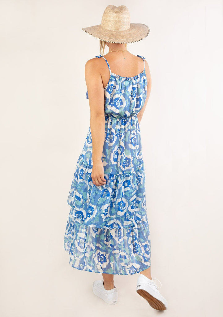 [Color: Blue Turquoise] Ultra pretty geo floral print tank top midi dress. Featuring ruffle details.
