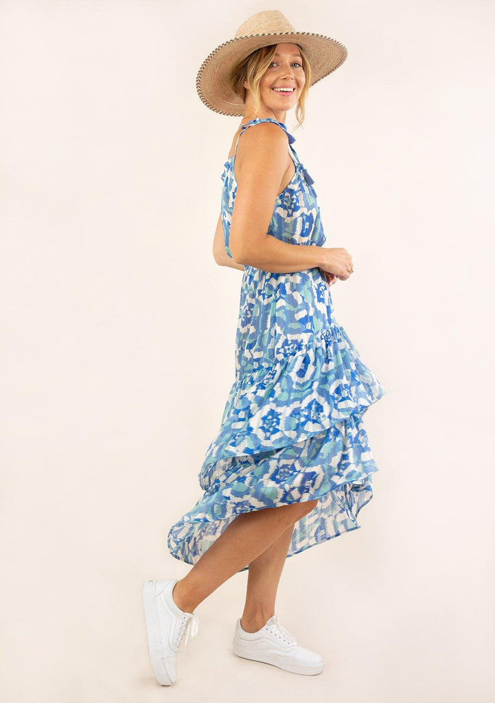 [Color: Blue Turquoise] Ultra pretty geo floral print tank top midi dress. Featuring a high low hemline.