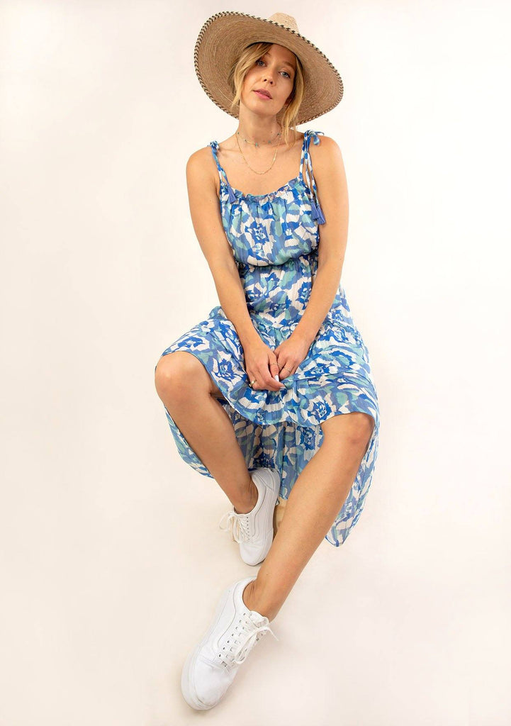 [Color: Blue Turquoise] Ultra pretty geo floral print tank top midi dress. The perfect boho dress for Summer.