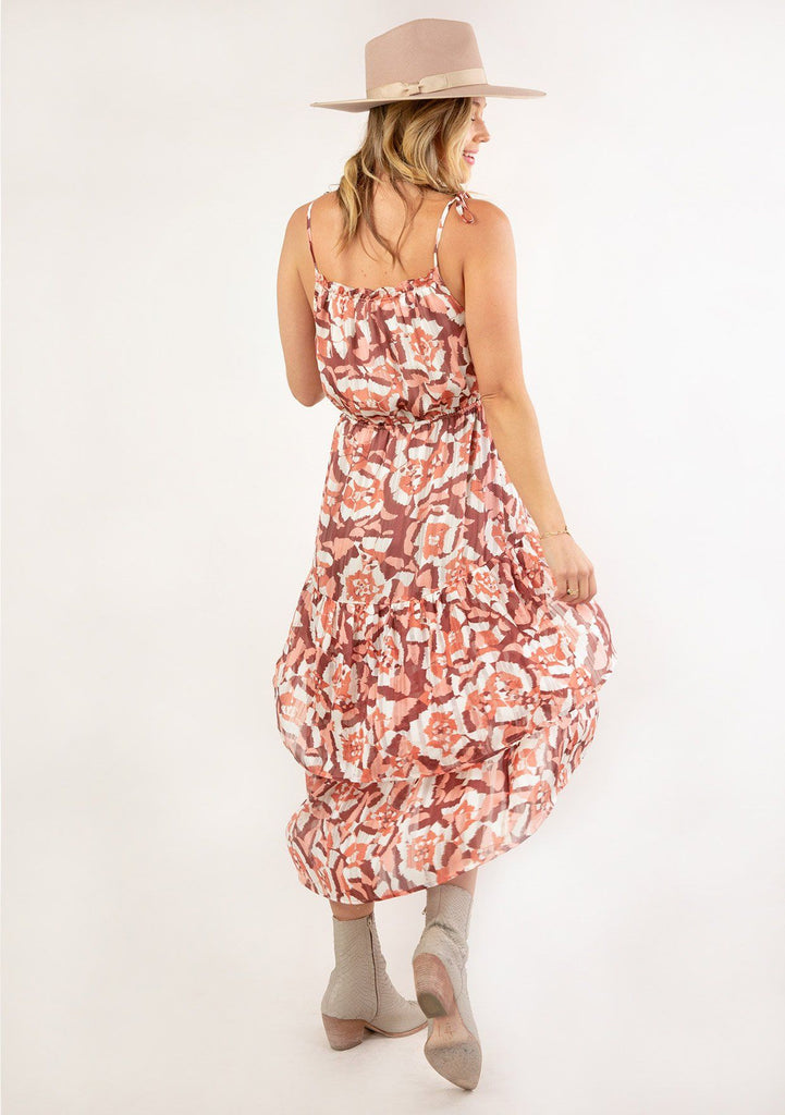 [Color: Coral Wine] Ultra pretty geo floral print tank top midi dress. The perfect boho dress for Summer.