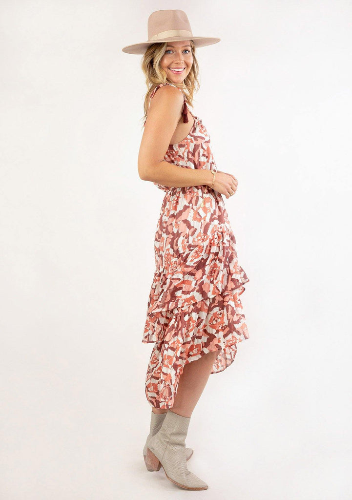 [Color: Coral Wine] Ultra pretty geo floral print tank top midi dress. Featuring a high low hemline.