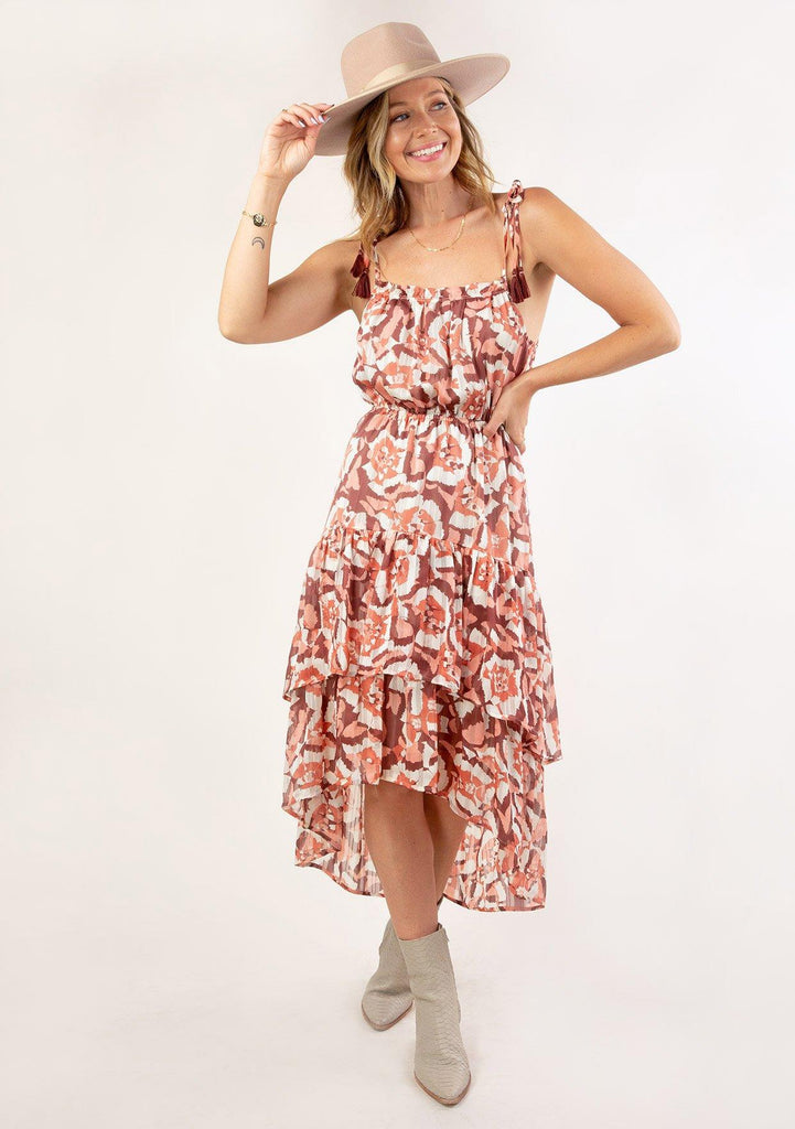 [Color: Coral Wine] Ultra pretty geo floral print tank top midi dress. Featuring a pretty double tiered ruffle hem.