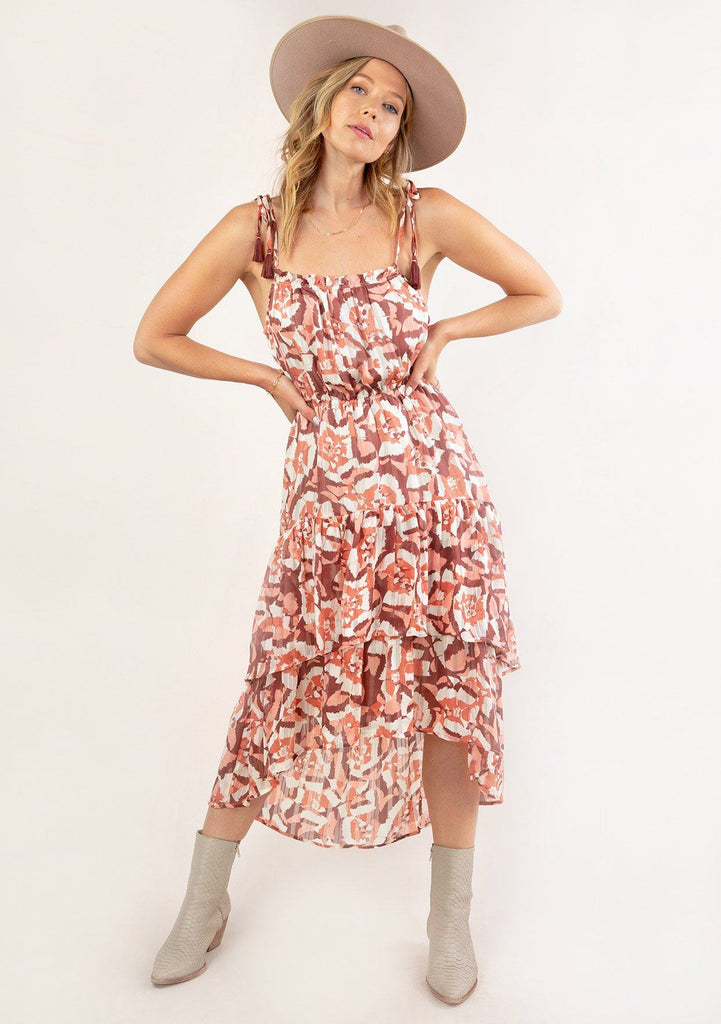 [Color: Coral Wine] Ultra pretty geo floral print tank top midi dress. Featuring an elastic waist detail for definition.