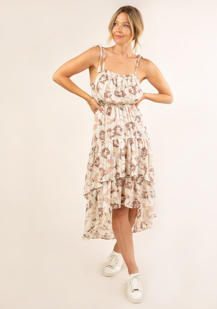 [Color: Cream Blush] Ultra pretty geo floral print tank top midi dress. Featuring a pretty double tiered ruffle hem.