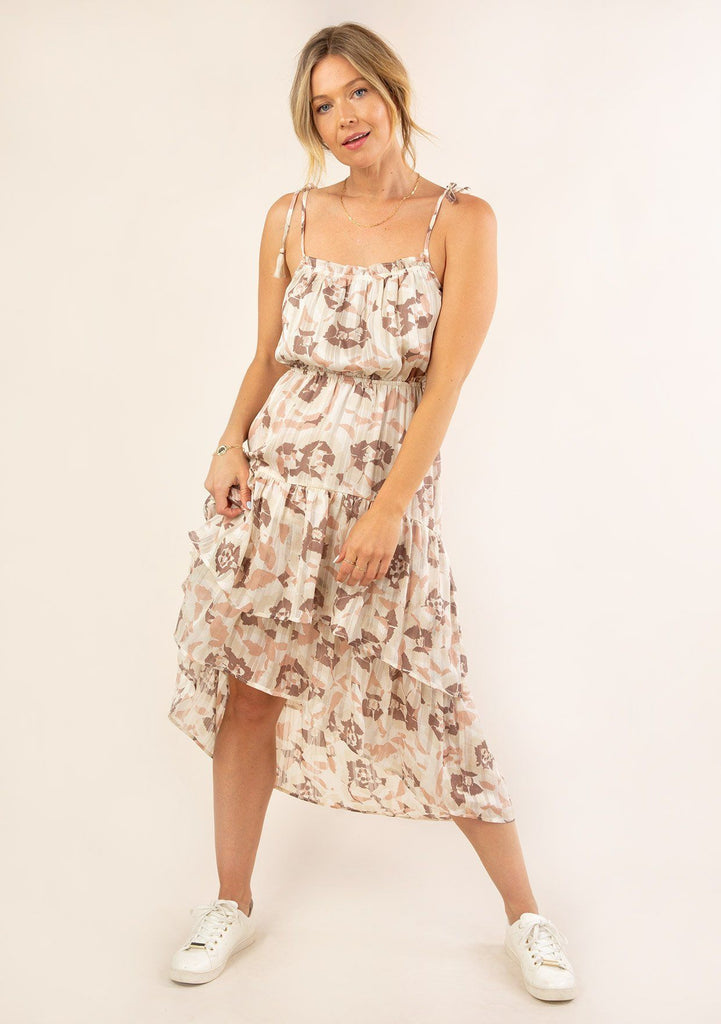[Color: Cream Blush] Ultra pretty geo floral print tank top midi dress. Featuring ruffle details.