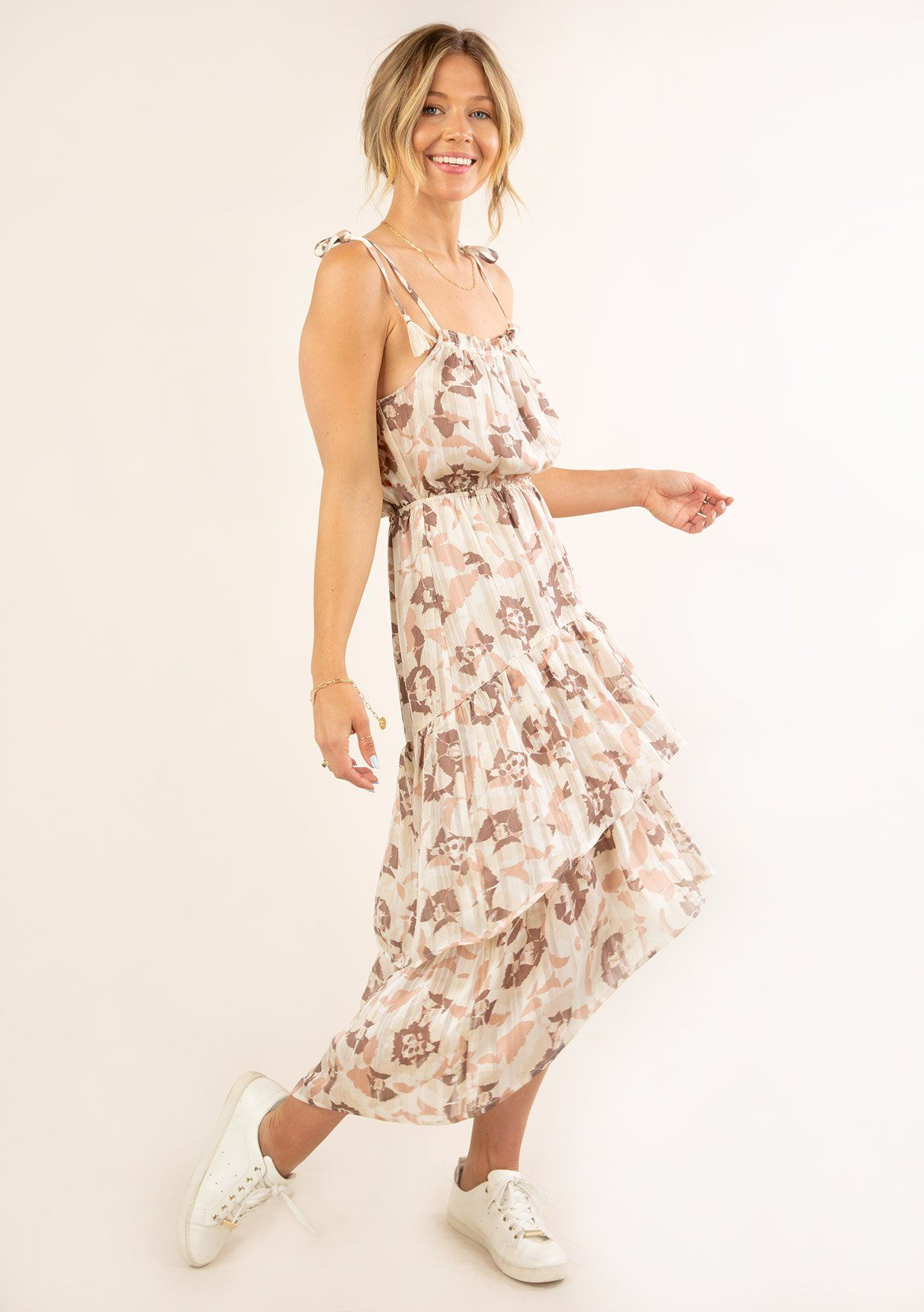 [Color: Cream Blush] Ultra pretty geo floral print tank top midi dress. Featuring an elastic waist detail for definition.