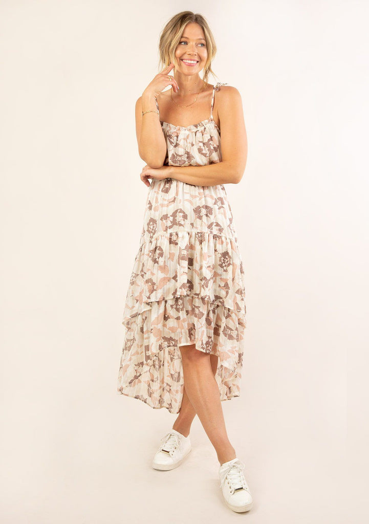 [Color: Cream Blush] Ultra pretty geo floral print tank top midi dress. Featuring a high low hemline.