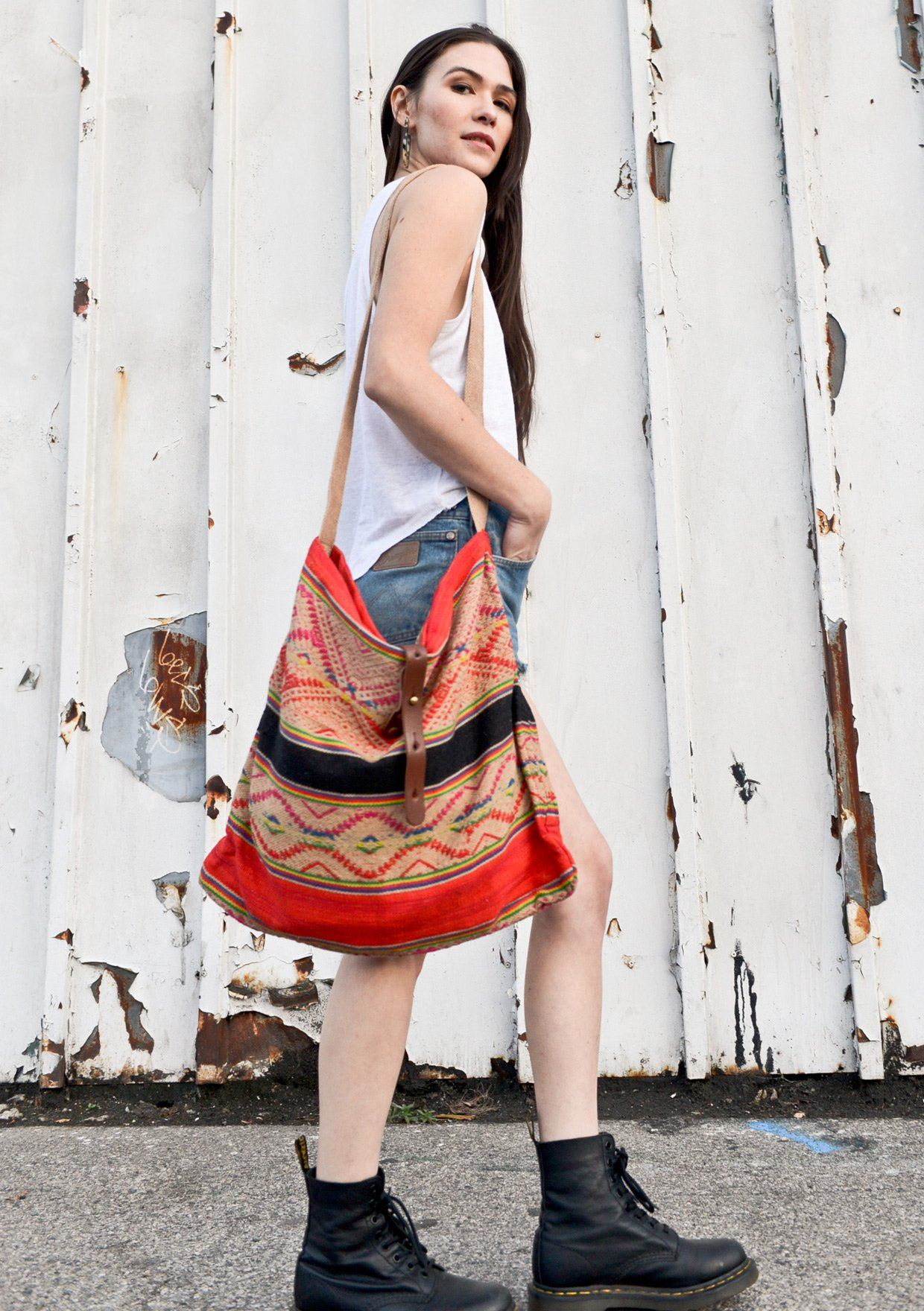 [Color: Black/Red] Lovestitch Roomy Slouchy Tote with Cotton Strap