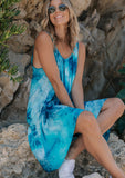 [Color: Turquoise Navy] Beautiful boho tie dye mini beach dress. Perfect Summer tank dress for throwing on over your swimsuit. Featuring an all over tie dye print.