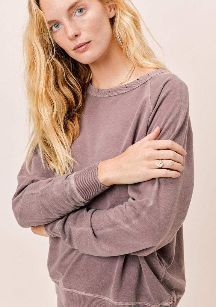 [Color: Vintage Plum] Lovestitch vintage plum purple lightweight frenchterry crewneck sweater with distressed detail.