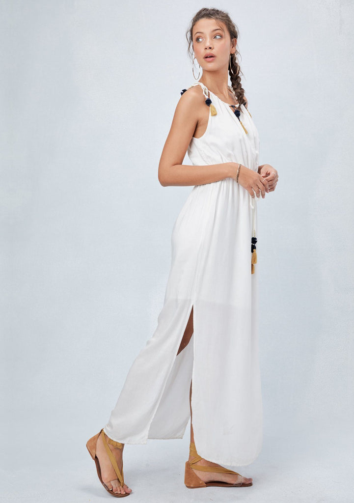 [Color: Off White] Lovestitch white, grecian inspired maxi dress.