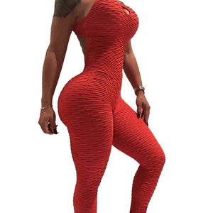 2020 Sexy Halter Women Tracksuit Jumpsuit High Waist Play Suit Slim Sport Backless Top Running Sportswear Pants Push up Jumpsuit