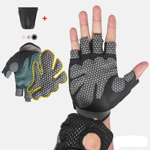 Breathable Fitness Gloves Silicone Palm Hollow Back Gym