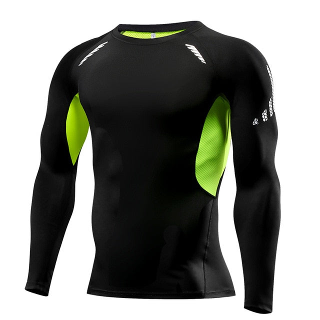 Men Compression Running T Shirt Fitness Tight Long Sleeve Sport
