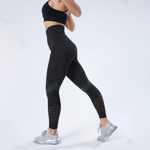 CHRLEISURE Hollow Out Leggings Women High Waist Seamless Patchwork Fitness Pants Women Push Up Breathable Skinny Gym Leggings