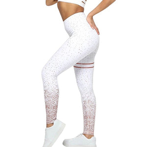 Hot Striped Printed Gym Leggings Slim Fitness High Waist