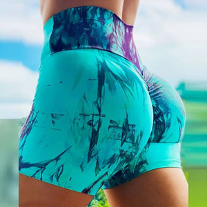 print Womens Short Leggings Workout Scrunch Booty Gym Leggins Pants Tie-dye Pockets Leggings Legins Fitness Mujer Female 2020