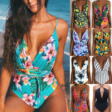 Bikini 2020 New Women Sexy Print Brazilian  Piece Swimsuit Floral Retro Thong High Waist Bodysuit Backless High Cut Swimwear