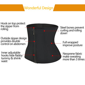 Neoprene Sweat Sauna Waist Trimmer Belt Body Shaper Waist Trainer Corset Fat Burning Fajas Colombianas Tummy Control Shapewear