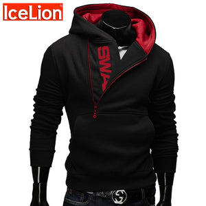 Zipper Hoodies Men Cotton Sweatshirt Print Sportswear Slim Pullover