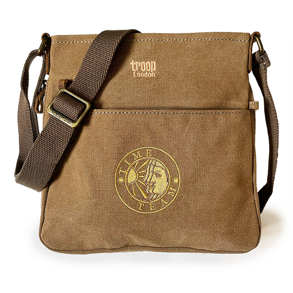 Canvas Crossbody Shoulder Bag - Brown