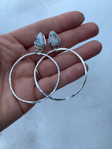 White Buffalo Stud Hoops
