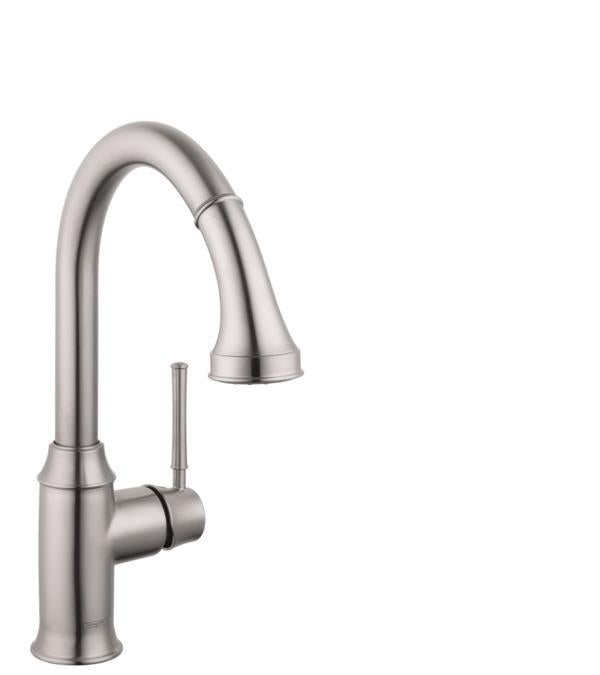 Hansgrohe 04215800 Talis C High-Arc Pull-Down Kitchen Faucet with Magnetic Docking Spray Head and Locking Diverter in Steel Optic