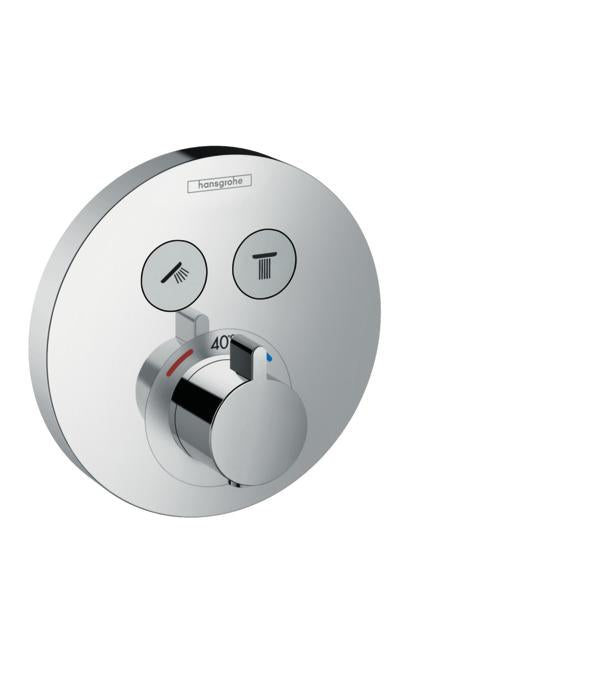 Hansgrohe 15743001 Shower Select Round Thermostatic 2-Function Trim in Chrome