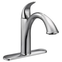 Moen 7545 Extensa One Handle Low Arc Pullout Kitchen Faucet in Chrome