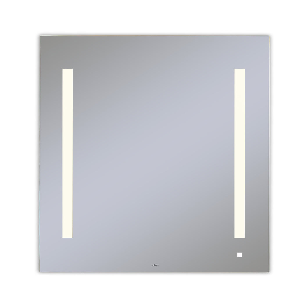 "AiO 29-1/8"" x 29-7/8"" x 1-1/2"" lighted mirror with LUM lighting at 2700 kelvin temperature (warm light), dimmable and USB charging ports"