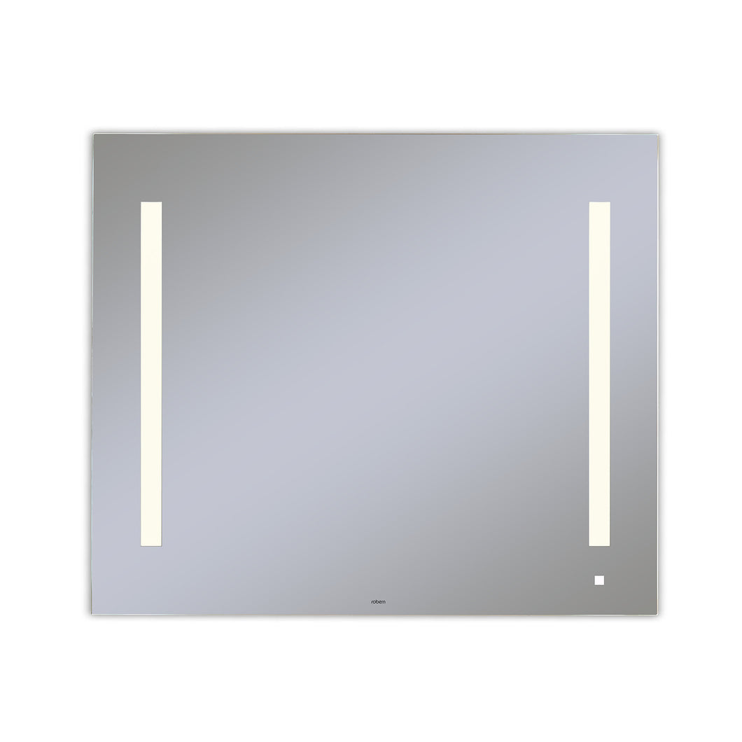 "AiO 35-1/8"" x 29-7/8"" x 1-1/2"" lighted mirror with LUM lighting at 2700 kelvin temperature (warm light), dimmable, USB charging ports and OM Audio"