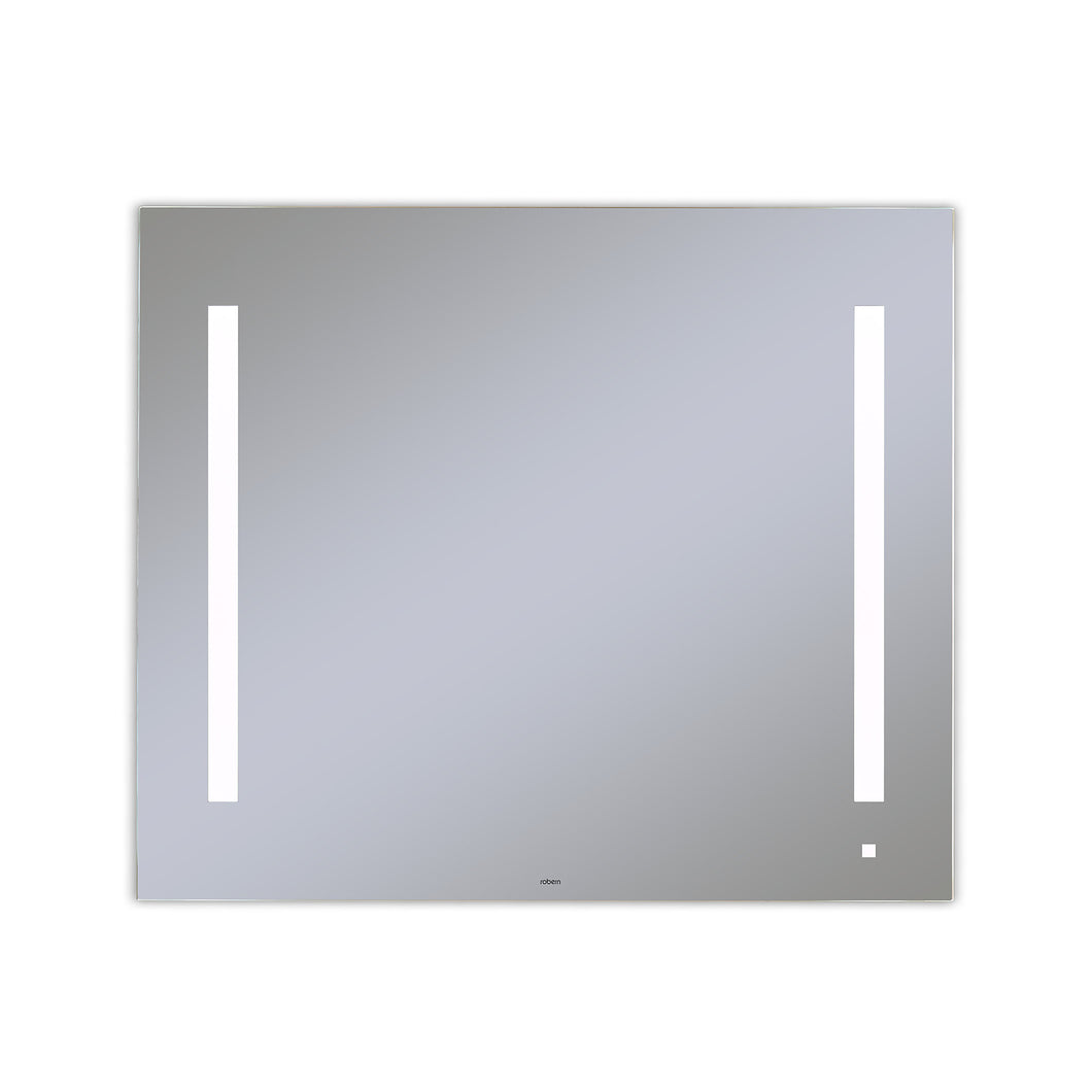 "AiO 35-1/8"" x 29-7/8"" x 1-1/2"" lighted mirror with LUM lighting at 4000 kelvin temperature (cool light), dimmable, USB charging ports and OM Audio"