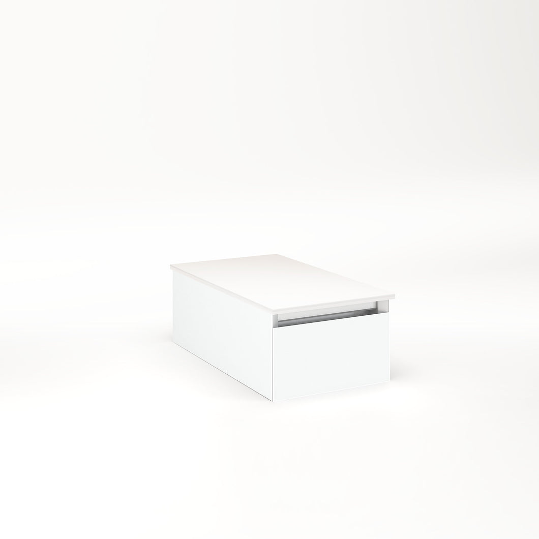 "Cartesian 12-1/8"" x 7-1/2"" x 21-3/4"" slim drawer vanity in matte white with slow-close full drawer and no night light"