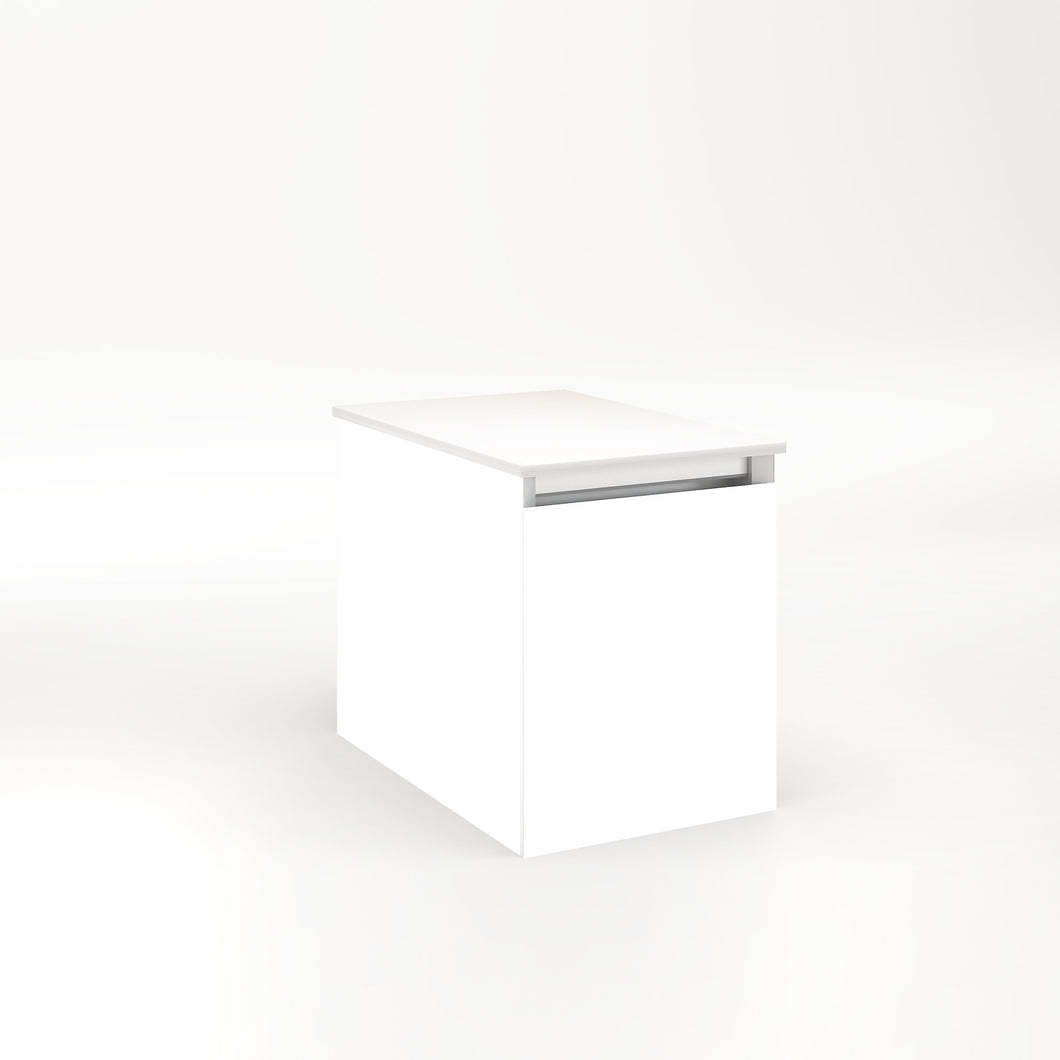 "Cartesian 12-1/8"" x 15"" x 18-3/4"" single drawer vanity in white with slow-close full drawer and night light in 5000K temperature (cool light)"