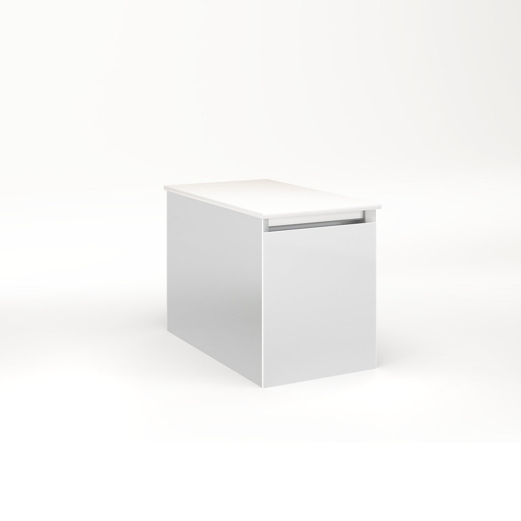 "Cartesian 12-1/8"" x 15"" x 21-3/4"" single drawer vanity in satin white with slow-close full drawer and no night light"