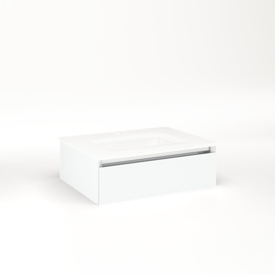 "Cartesian 24-1/8"" x 7-1/2"" x 18-3/4"" slim drawer vanity in matte white with slow-close full drawer and night light in 5000K temperature (cool light)"