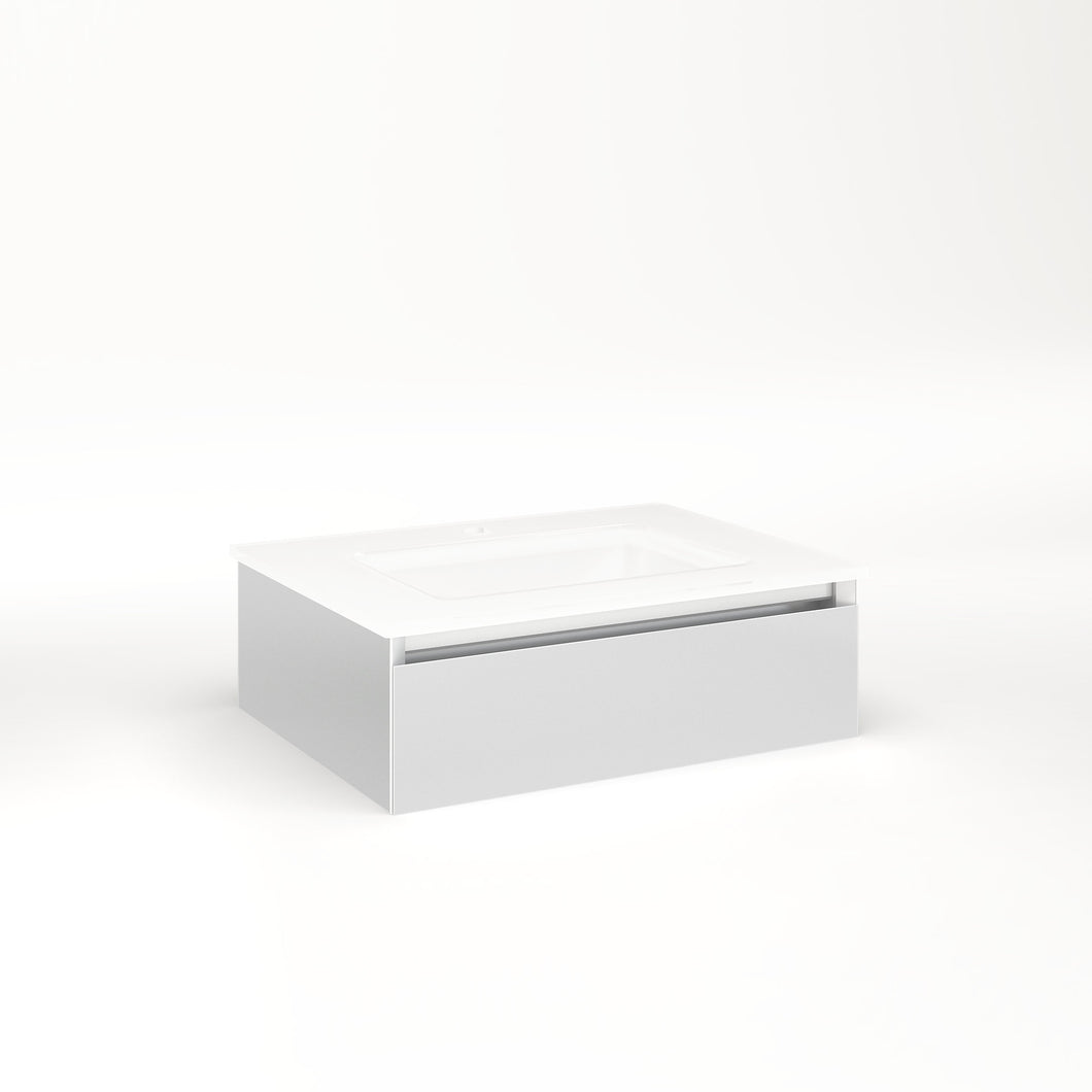 "Cartesian 24-1/8"" x 7-1/2"" x 18-3/4"" slim drawer vanity in satin white with slow-close plumbing drawer and no night light"