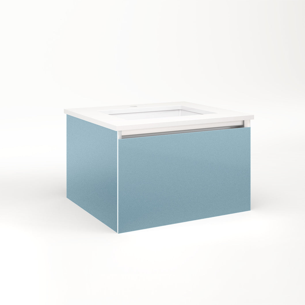 "Cartesian 24-1/8"" x 15"" x 21-3/4"" single drawer vanity in ocean with slow-close plumbing drawer and no night light"