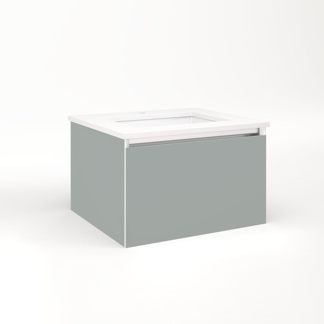 "Cartesian 24-1/8"" x 15"" x 21-3/4"" single drawer vanity in matte gray with slow-close plumbing drawer and no night light"