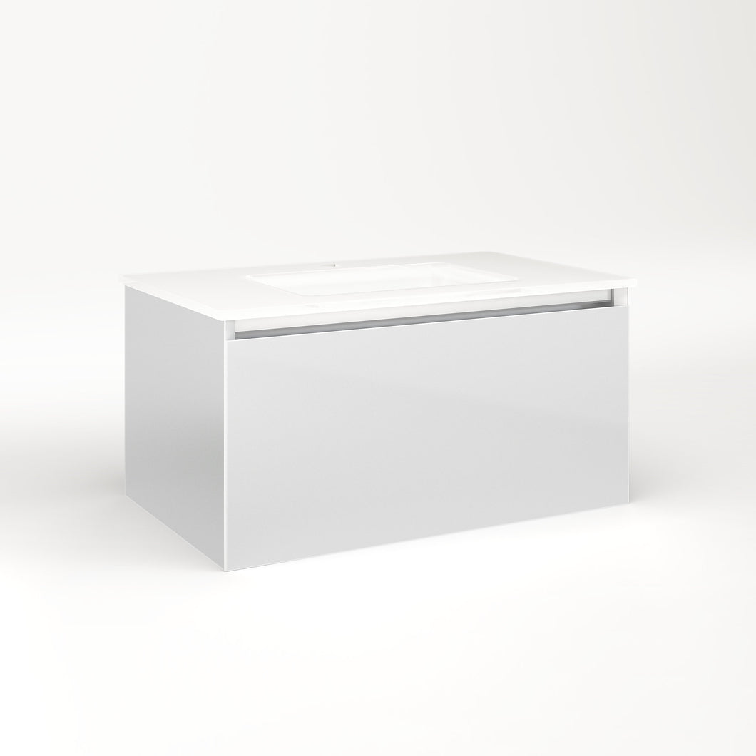 "Cartesian 30-1/8"" x 15"" x 18-3/4"" single drawer vanity in satin white with slow-close plumbing drawer and night light in 5000K temperature (cool light)"