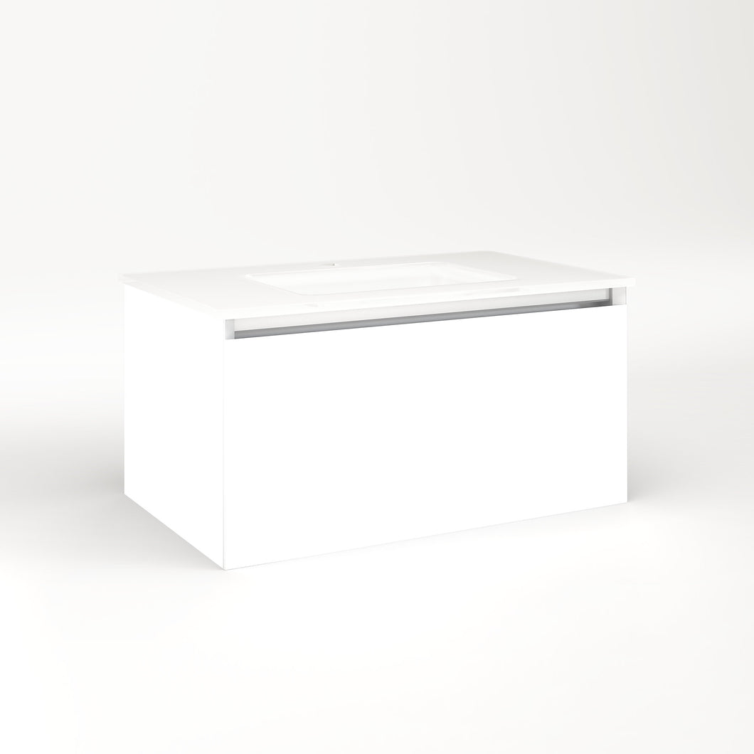 "Cartesian 30-1/8"" x 15"" x 18-3/4"" single drawer vanity in white with slow-close plumbing drawer and no night light"