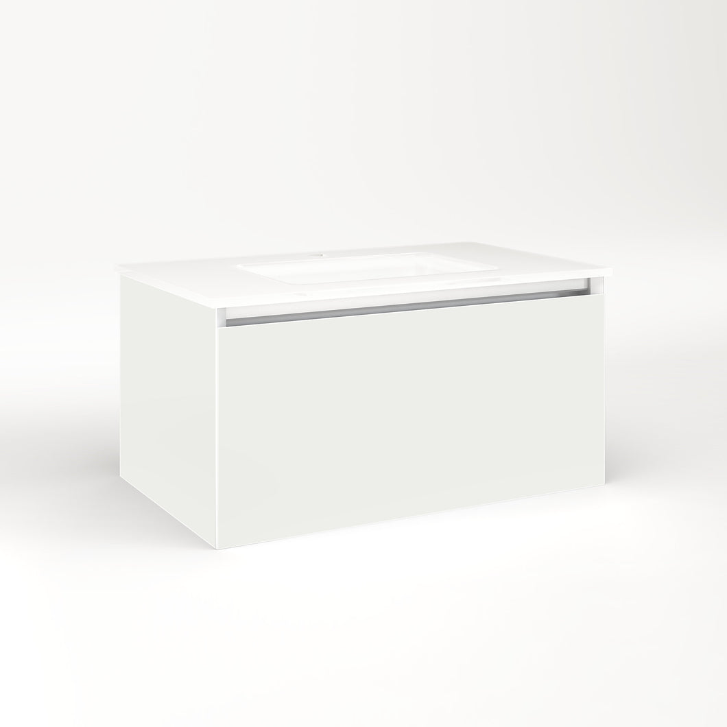 "Cartesian 30-1/8"" x 15"" x 18-3/4"" single drawer vanity in beach with slow-close plumbing drawer and no night light"