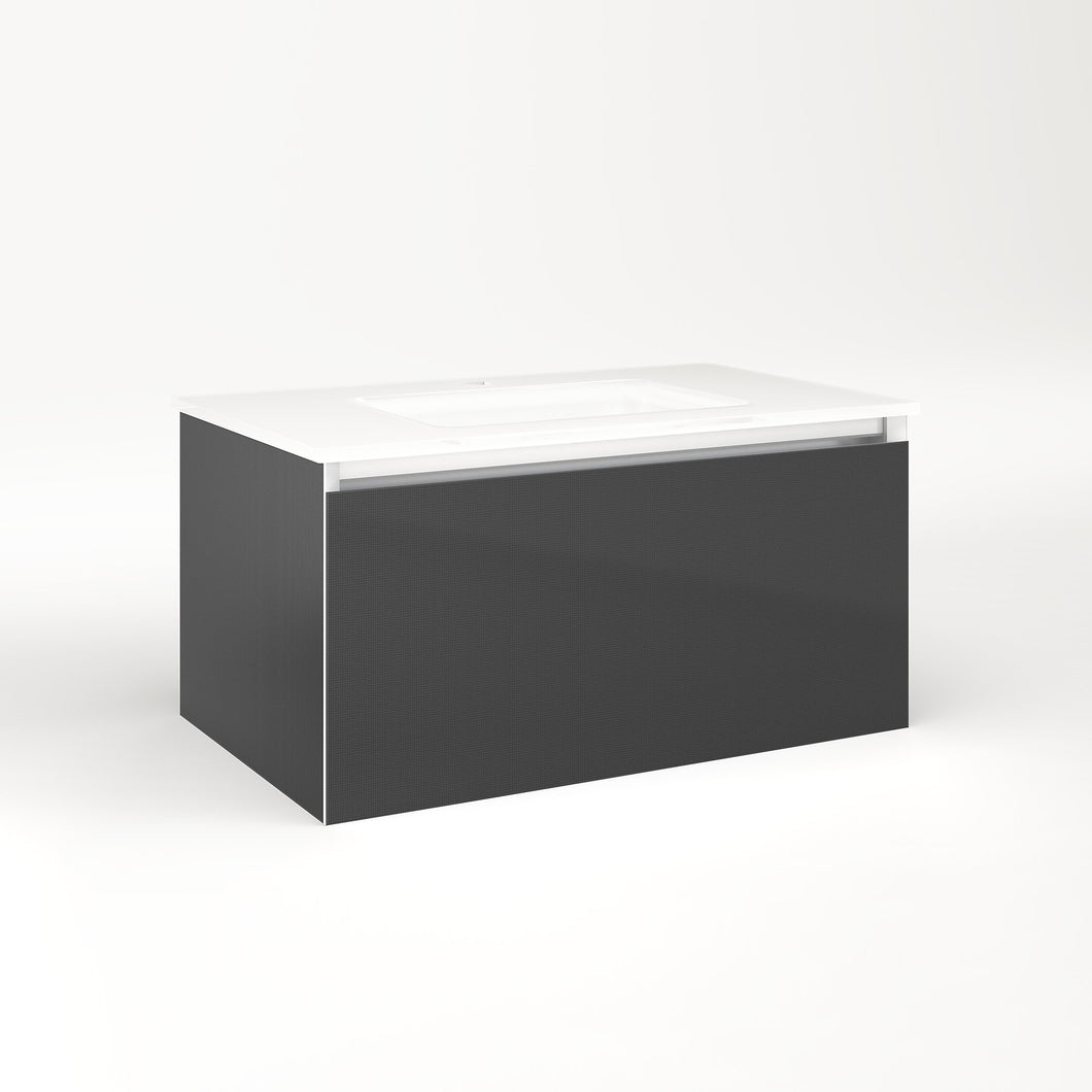 "Cartesian 30-1/8"" x 15"" x 18-3/4"" single drawer vanity in smoke screen with slow-close plumbing drawer and night light in 5000K temperature (cool light)"