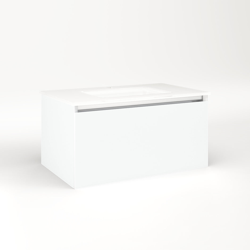 "Cartesian 30-1/8"" x 15"" x 18-3/4"" single drawer vanity in matte white with slow-close plumbing drawer and no night light"