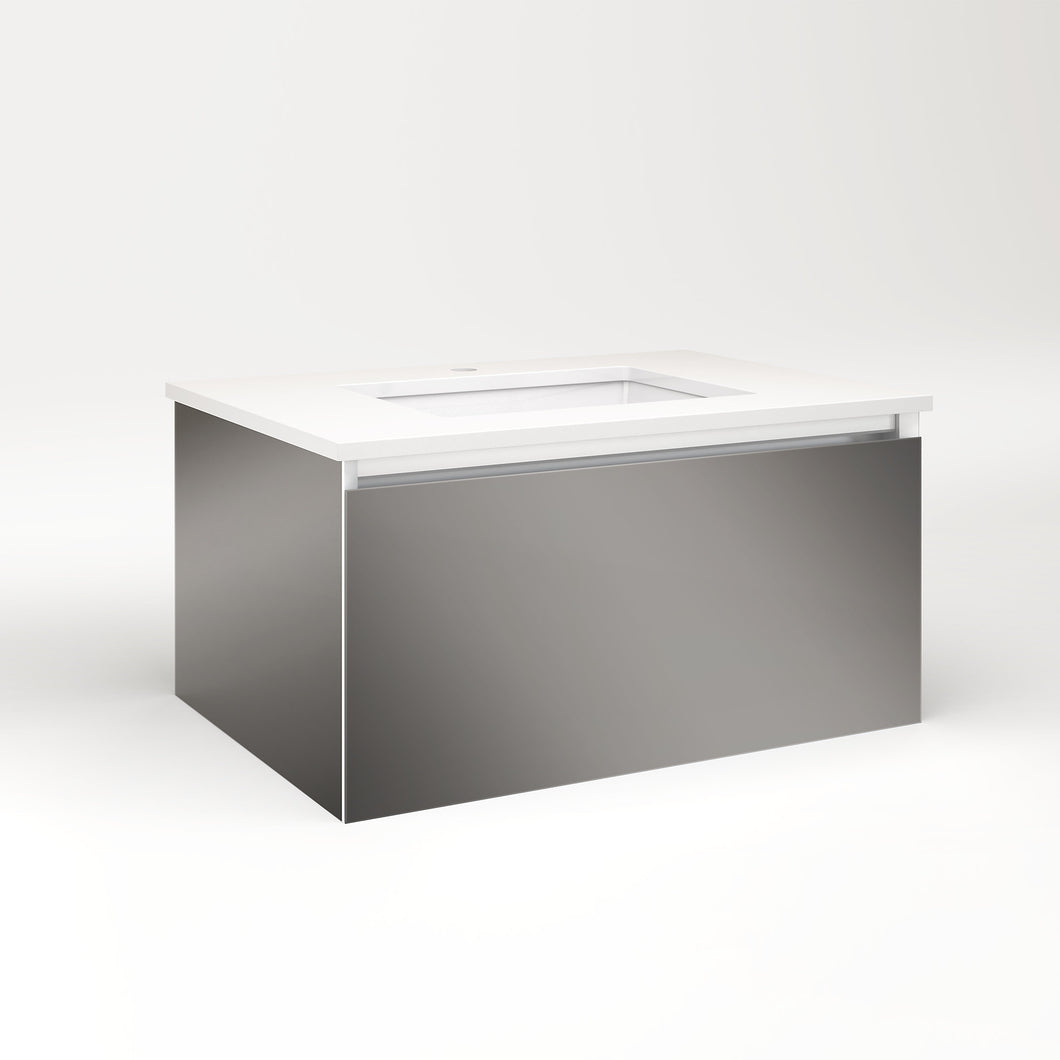 "Cartesian 30-1/8"" x 15"" x 21-3/4"" single drawer vanity in tinted gray mirror with slow-close full drawer and no night light"