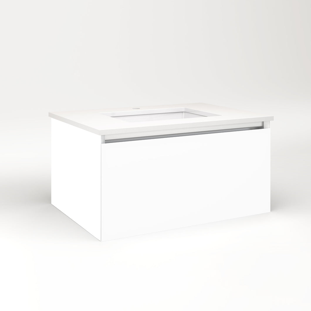 "Cartesian 30-1/8"" x 15"" x 21-3/4"" single drawer vanity in white with slow-close full drawer and no night light"