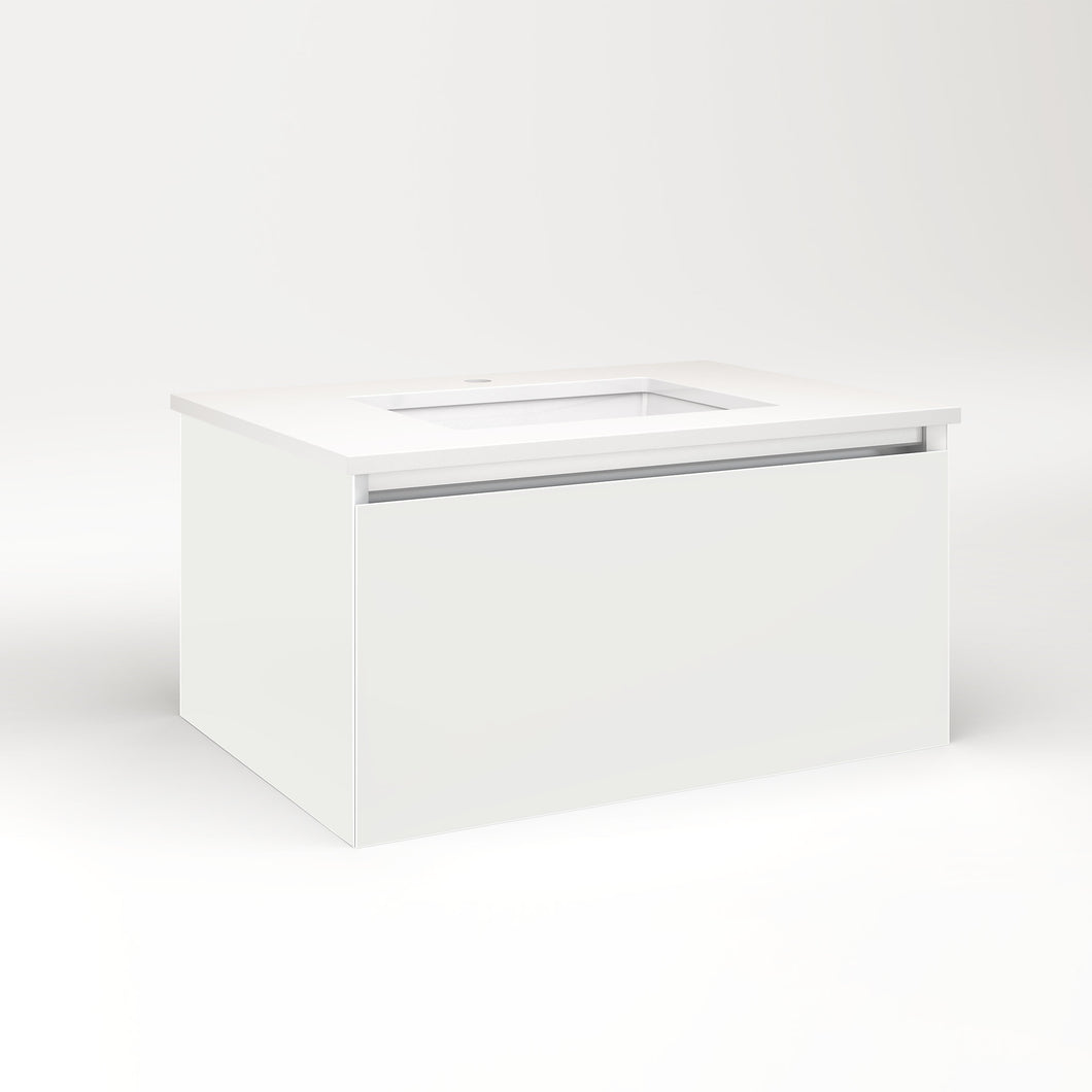 "Cartesian 30-1/8"" x 15"" x 21-3/4"" single drawer vanity in beach with slow-close full drawer and night light in 5000K temperature (cool light)"