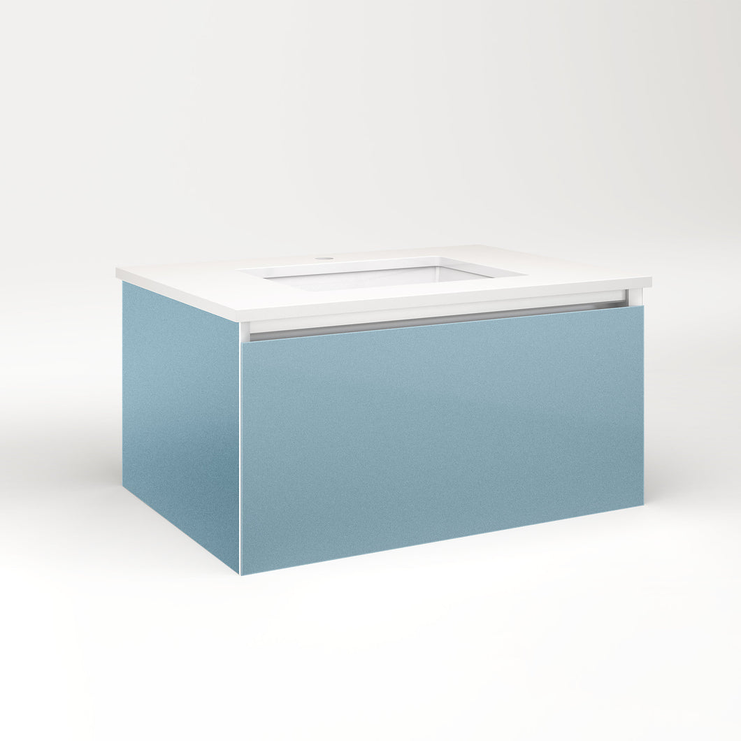 "Cartesian 30-1/8"" x 15"" x 21-3/4"" single drawer vanity in ocean with slow-close full drawer and night light in 5000K temperature (cool light)"