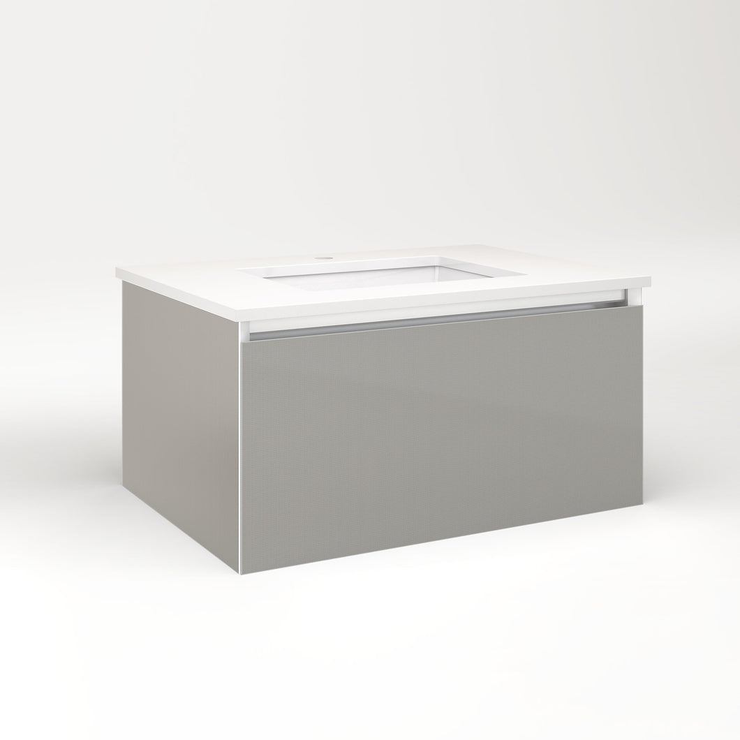 "Cartesian 30-1/8"" x 15"" x 21-3/4"" slim drawer vanity in silver screen with slow-close full drawer and selectable night light in 2700K/4000K temperature (warm/cool light)"